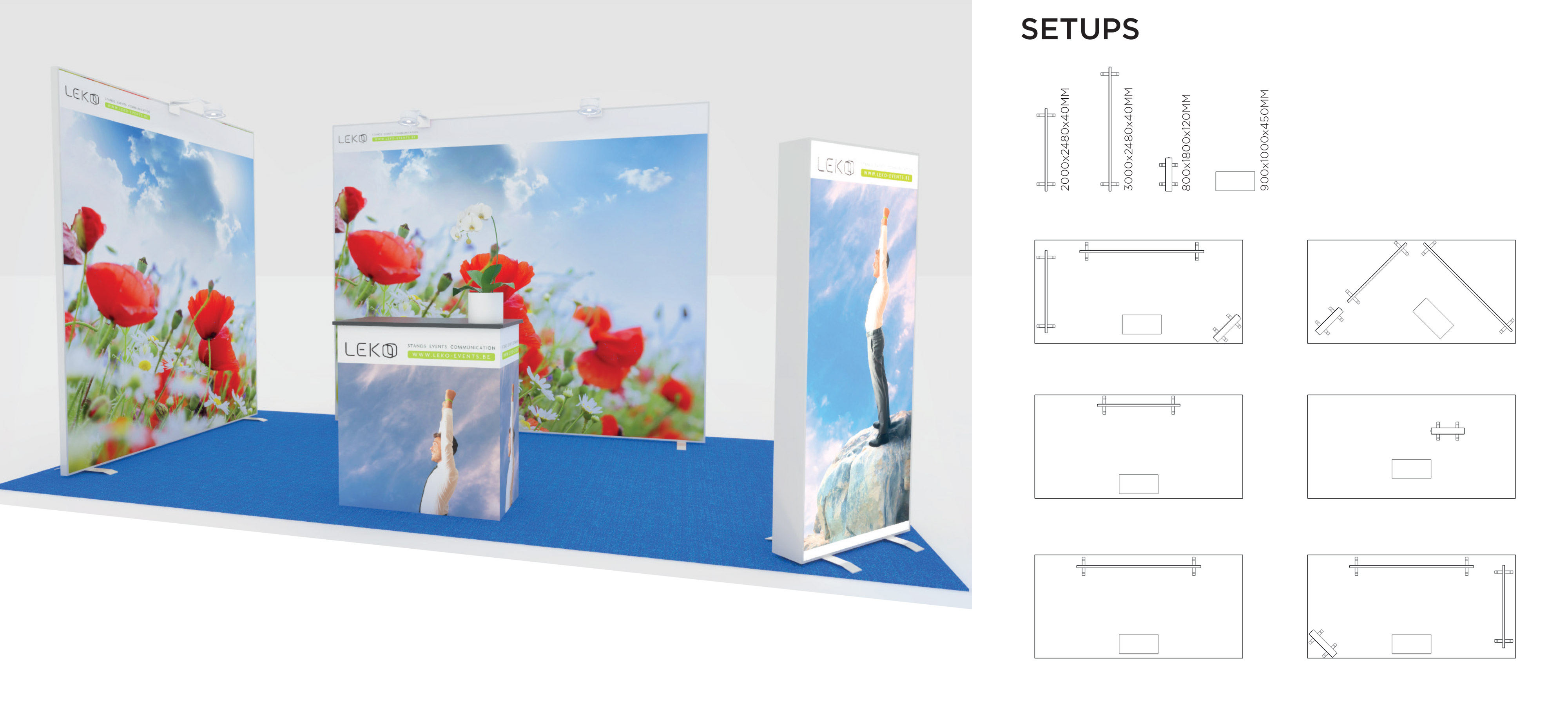 Leko mur lumineux modulable pour stand d 39 exposition et salons professionnels for Location stand exposition